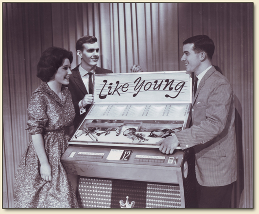 An early photo of the original trio of hosts of the legendary Saturday night teen music and dance show 'Like Young' on CFCF TV 12, Montreal, circa 1961-62