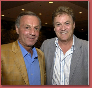 Marc Denis emceeing a charity golf tournament with special guest of honour for the evening, Montreal Canadiens legend Guy Lafleur